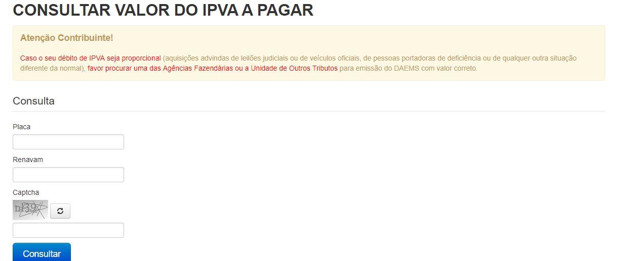 Consulta IPVA MS